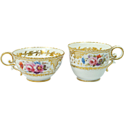 Antique Quality Pair Coalport Pembroke Shape Cup English Porcelain Circa 1825