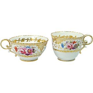 Antique Quality Pair Coalport Pembroke Shape Cup English Porcelain Circa 1825