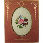 Antique 19th Century Victorian Pink Gilt Tooled Leather Photo Frame By Mappin Bros London Contains Georgian Embossed Floral Watercolor Painting