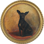 Antique 19th Century Miniature Pinscher Dog Portrait Plate Charger Watcombe Pottery Framed Circa 1885