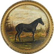 Antique 19th Century Horse Painting Plate Charger Watcombe Pottery Framed English Circa 1885