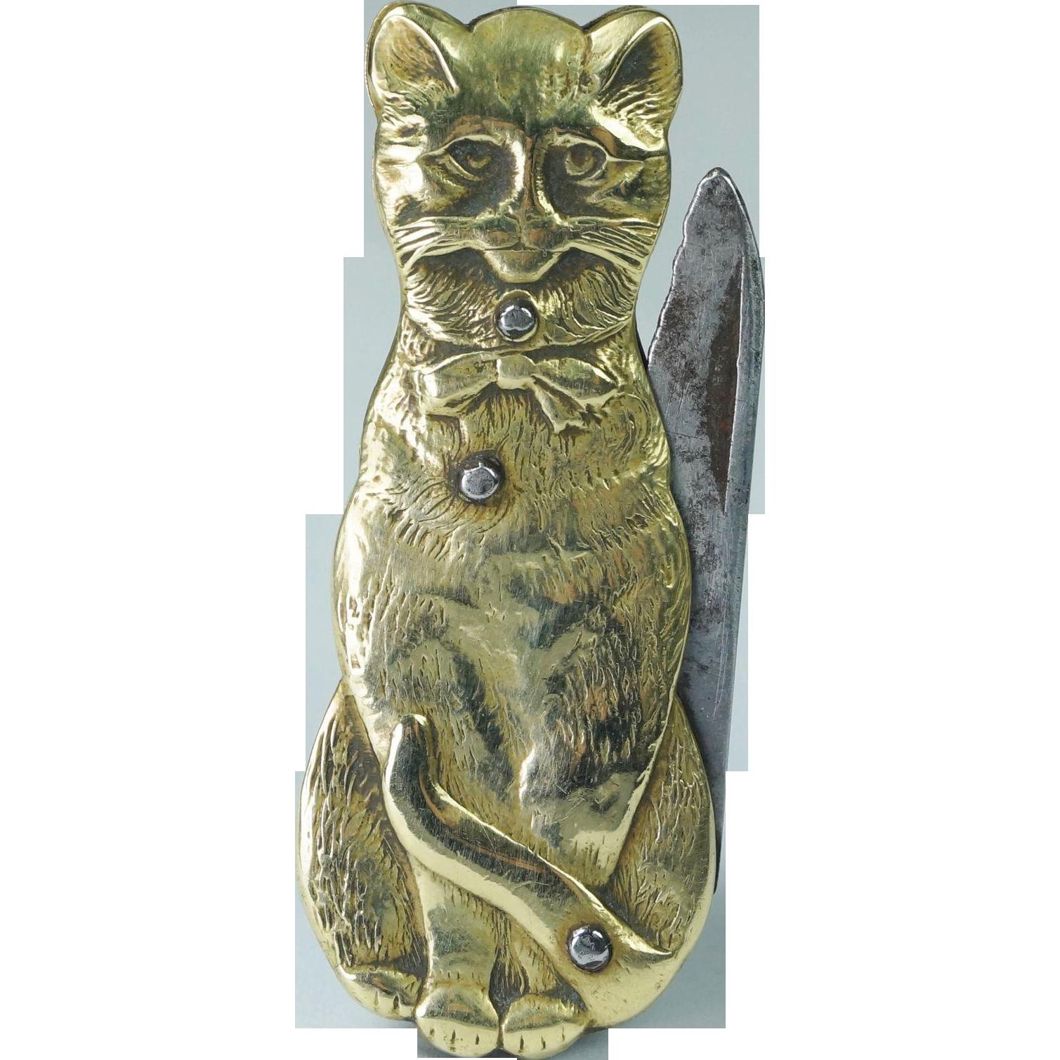 Antique Art Nouveau Brass Cat Folding Pocket Knife French Circa 1895