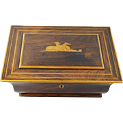Antique French Palais Royal French Greyhound Dog Box Rosewood Inlaid Casket Circa 1830