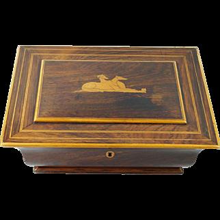 Antique French Palais Royal French Greyhound Dog Box Rosewood Inlaid Casket Circa 1830