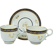 Early 19th Century Worcester Porcelain Barr Period Trio Cup And Saucer Circa 1800