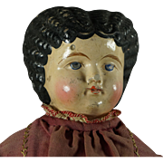 "19th Century Greiner Type 20"" Papier Mache Doll Circa 1860s Folk Art Look"