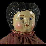 """19th Century Greiner Type 20"""" Papier Mache Doll Circa 1860s Folk Art Look"""