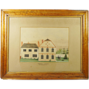 Rare English Early 19th Century Naive School Painting Couple Dog House Circa 1820 Folk Art