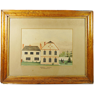 Rare English Early 19th Century Naive School Painting Couple Dog House Circa 1820 Folk Art