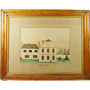 19th Century English Naïve School Painting Devon House and Dog Circa 1820 English Folk Art