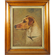 Early 20th Century Jack Russell Terrier Oil Painting Dog Portrait Signed Henry Percy Circa 1930