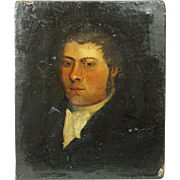 Early 19th Century Small English Oil on Canvas Portrait Georgian Gentleman Circa 1810 Regency Era