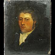 Early 19th Century Small English Oil on Canvas Portrait Georgian Gentleman Circa 1810 Regency Era