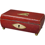 Antique Georgian Red Leather Sewing Box Early 19th Century England Circa 1820