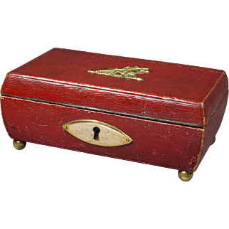 Antique Regency Red Leather Sewing Box Early 19th Century England