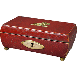 19th Century Georgian Red Leather Childs Sewing Box English Circa 1820
