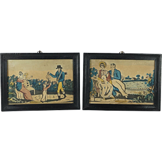 Antique Pair Georgian Miniature Hand Colored Engraving Etching Persuasion and Happiness Circa 1815 Nursery Prints