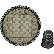 Antique Rare French Ivorine Celluloid Doll House Miniature Chess Board Checkers Circa 1910