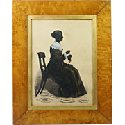Antique 19th Century English Full Length Cut Paper Silhouette Lady Sewing Gloves John Gendall Interest circa 1840