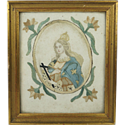 18th Century French Colifichet Double Sided Embroidery Upon Paper Devotional Virgin Mary 1700s