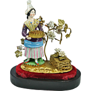 19th Century French Porcelain Figural Etui Thimble Holder Pin Cushion Ormolu Pincushion Under Glass Dome AF