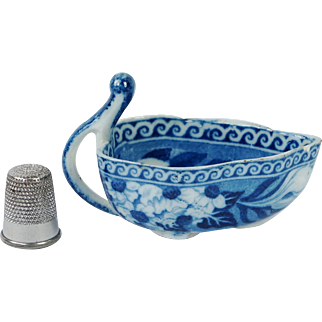 Antique Staffordshire Blue and White Rogers RARE Butter Boat The Fallow Deer Pattern Transferware Circa 1820