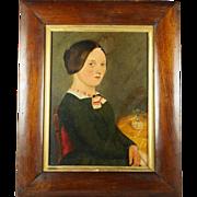 Antique American School Folk Art Portrait Primitive Oil On Board Naive School Circa 1830
