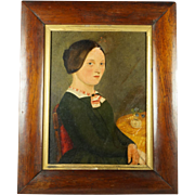 Antique Early 19th Century American School Folk Art Portrait Oil On Board Naive School Circa 1830