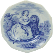 Antique Childs Miniature Transferware Dolls Toy Plate Girl and Newfoundland Dog Circa 1825