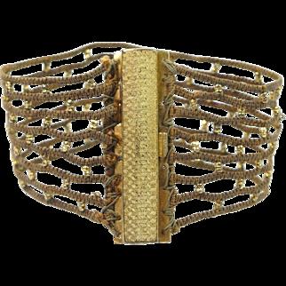 Antique Victorian Cuff Bracelet Woven Cord Gilt Beads Nice Clasp Circa 1840