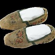 Antique 19th Century Childrens Needlework Shoes Slippers Original Irish Retailers Label Circa 1830