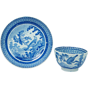 Early 19th Century English Pearlware Tea Bowl And Saucer Enoch Wood Bird Pattern Circa 1810 Georgian