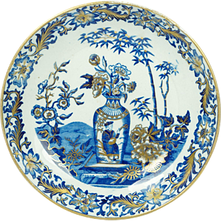 Antique Early Wedgwood Pearlware Plate Chinese Vase Blue Bamboo Pattern English Circa 1800 Georgian