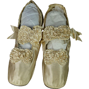 Antique 19th Century Shoes Cream Silk Satin French Made by Julien Mayer Paris Circa 1865