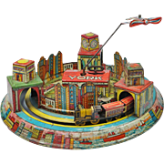 Rare Louis Marx Toy Tin Wind Up New York Skyline Train and Plane 1928 Art Deco