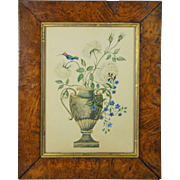 Antique 19th Century English Watercolor Floral Bird Painting Circa 1820 Georgian