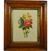 Antique Georgian Floral Silk Needlework Embroidery On Paper Birds Eye Maple Frame 19th Century Circa 1820