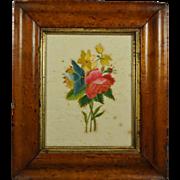 Antique 19th Century Georgian Floral Silkwork Needlework Embroidery On Paper Birds Eye Maple Frame Circa 1820