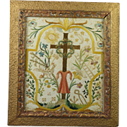 Late 18th Century  Needlework  Silkwork Embroidery on Paper French Devotional Georgian Circa 1800
