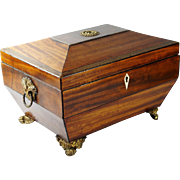 Antique Elegant Regency Mahogany Box 19th Century Sarcophagus Shape English Circa 1810 George 111