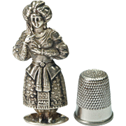 Antique Early 19th Century French Silver Figural Needle Case Lady Hallmarked Circa 1830s