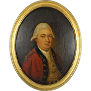 Antique 18th Century Oil Portrait British Officer Redcoat American Revolution Period Circa 1770's