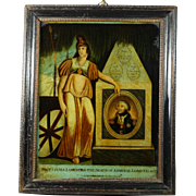 Antique Reverse Glass Print Admiral Lord Nelson English Circa 1805 Georgian