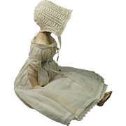 Antique Circa 1820 Baby Knitted Cap Bonnet Very Rare New Born Size Perfect For Doll Georgian