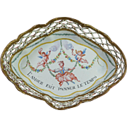 Antique 18th Century Pink Enamel Gaming Tray Quadrille Dish Cupids Romantic French Love Quotation Circa 1790