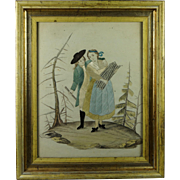 19th Century Georgian Silkwork Needlework on Paper Painting Lemon Gilt Frame Circa 1800