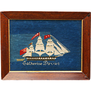 Antique Rare 19th Century Sailors Woolie Woolwork Needlework Sailing Ship Mimosa Catherine Davies Patagonia Argentina Welsh Settler Circa 1865 Migration Maritime History