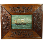 Antique English 19th Century Watercolor Gouache Painting Sailing Ship Maritime Sailor Carved Frame Circa 1850