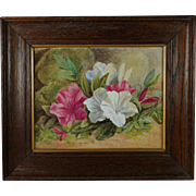 Antique 19th Century Watercolor And Gouache Painting Flowers Still Life Rhododendron Azalia Circa 1890
