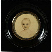 Antique 19th Century Portrait Miniature Young Child Baby Exceptional Watercolor Georgian Square Frame Circa 1810